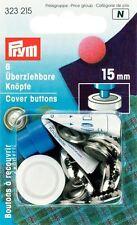 Prym 6 X 15mm cubierta de latón color plata botones con herramienta