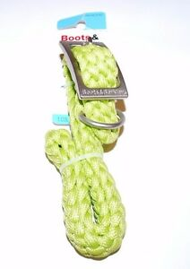 LARGE BOOTS & BARKLEY HEAVY BRAIDED ROPE DOG COLLAR GREEN L COLLARS
