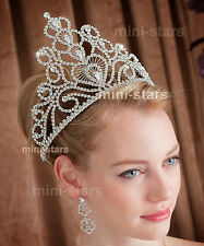"""Bridal Pageant Crown Sparkling Crystal Tall 6"""" Beauty Contest Tiara Prom T1580"""