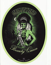 PSYCHOBILLY ZOMBIE BEAUTY PROM QUEEN TIARA HORROR B-MOVIE VINYL OVAL STICKER A6