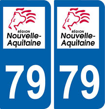 REGION AQUITAINE / 2 STICKERS AUTOCOLLANT PLAQUE IMMATRICULATION DEPARTEMENT  79