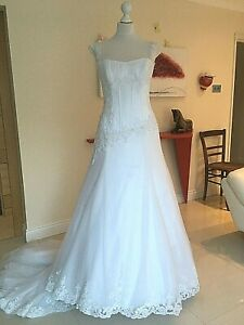 Maggie Sottero WEDDING DRESS UK 8-10-12 white A-line princes RRP £ 1,500