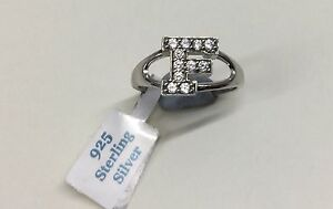 925 Sterling Silver Cubic Zirconia Pave Set Initial F Ring - NEW