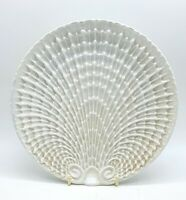 RARE Art Deco white lustre shell design porcelain plate. In wonderful conditon.