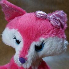First & Main Farrah Fox Plush Hot Pink Bow Blue Eyes EyeLashes Stuffed Animal