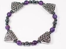 Celtic Pewter Dragons Teeth and Amethyst Bracelet, Spirituality