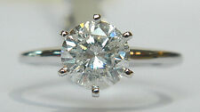 1.60 Carat Round Brilliant Cut DIAMOND Engagement Ring in 14K White Gold