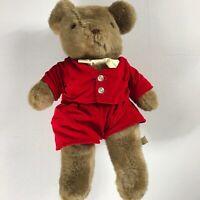 "Eden Toys Plush Bear VTG Toy 16"" Stuffed Kids Velvet Clothes Bow Tie Teddy Boy"