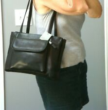 CLAVA Colombian Black Leather Tote Medium Handbag Satchel Purse Biker Bag Hobo