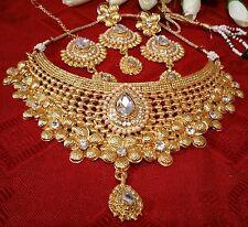 Latest indian fashion bridal jewellery polki choker set gold pearl earring tikka