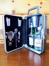 Vintage Travel Bar Platt Hard Case Glasses Olive Drab Military 1950s Drink Tools