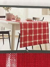 "Red Table Runner Plaid Extended Length Width Threshold NWT 20x90"" Christmas New"