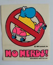 Vintage 80's Pop No Nerds Retro Roller Skate Sticker Nos