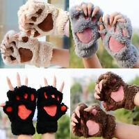 1 Pair Women Winter Soft Warm Plush Paw Gloves Fluffy Bear Paw Fingerless Gloves