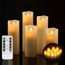 Flameless Candles Ivory LED Real Wax Pillar Remote Control With Timer Set Of 5PC