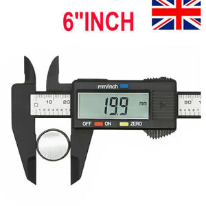 6'' LCD Digital Vernier Caliper Micrometer Measure Tool Gauge Ruler 150mm Black