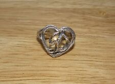 STERLING SILVER 925 ETCHED HEART & LETTER D RING SZ 6
