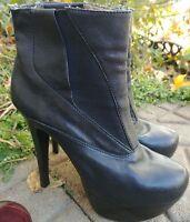 Pelle Moda boots. black leather clubwear platform heel  size 7M