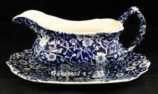 Staffordshire CALICO BLUE Gravy Boat & Underplate Crownford back stamp pre-owned
