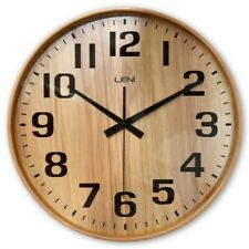 Leni Natural Wood Silent Glass Wall Clock, 28cm