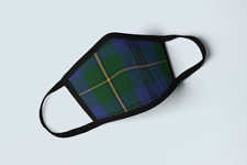 Clan Johnstone Tartan Face Mask Scottish Plaid Covering Blue Green Polyester