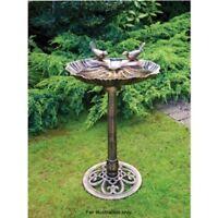 Bronze Effect Double Centrepiece Garden Stand Weather Resistant Bird Bath