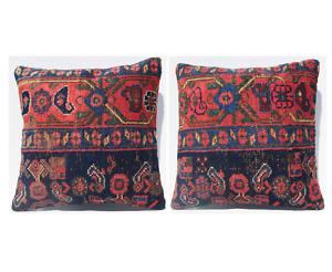 "Vintage Kurdish Two pillow covers handmade square carpet cushion rugs 16""X16"""