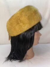 Vtg 1940-50's Mystere EDDI FUR Mustard Yellow Gold Pillbox Church Sunday Hat
