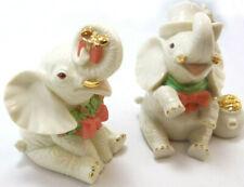 2 Lenox Yuletide Elephant Couple Christmas Figurines