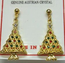 Christmas Tree Dangle Vintage Pierced Earrings With 22 Crystal Stones, NEW