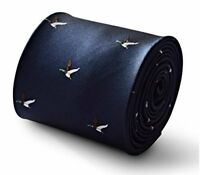 Frederick Thomas navy tie with flying hunting duck design