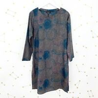 Comfy USA Tunic Top Size Small Blue Printed Long Sleeves Artsy Side Slits Stacey