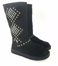 UGGS UK8.5 Black Leather Suede Zip Up Mid Calf Studded Booties Boots Fur Insole