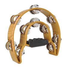 Handheld Tambourine Double Row Jingles Musical Percussion -Yellow