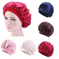 Silk Satin Women Night Sleep Cap Hair Bonnet Hat Head Cover Wide Band Elastic