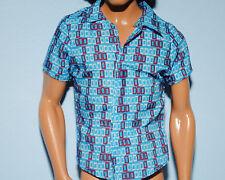 Blue Shirt w/ Red, White Rectangular Geometric Shapes KEN Fashion Genuine BARBIE