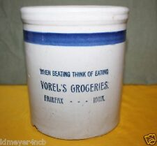 OLD VOREL'S GROCERIES STONEWARE ADVERTISING BEATER JAR FAIRFAX.  IOWA