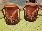 """Vintage Roseville Set Of 2 Vases 4"""" Mauve Foxglove"""