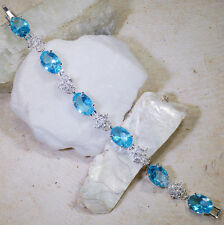 "Wholesales 5 strands x 35CT Blue & White Topaz Silver Bracelet 7"" GBR169"