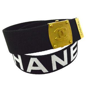 CHANEL CC Logos Buckle Belt White Black Canvas 94P 75/30 Authentic 05876
