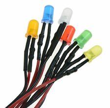 Lot de LED précâblé diffused 5mm 12V - rouge vert jaune blanc bleu orange