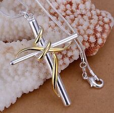 Silver Gold Tone Stainless Steel Large Heavy Cross Pendant Necklace for Men