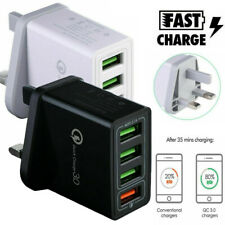 4 Multi-Port Fast Quick Charge QC 3.0 USB Hub Wall Charger Adapter UK Plug