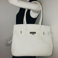 Beautiful Genuine Ostrich Leather Handbag Satchel Purse White with Padlock