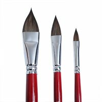 MEEDEN Artist Paint Brushes Sable Hair Oval Wash Cats Tongue Shape Set 3Pcs New