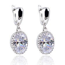 5ct CZ Dangle Drop Earrings 925 sterling silver post white yellow blue purple