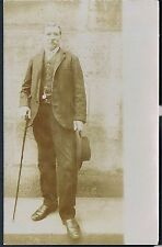 PRIVATE RP POSTCARD A MATURE FRENCH GENTLEMAN WITH HAT AND CANE C1908