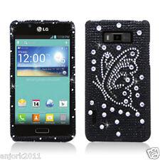 LG Splendor Venice Optimus Showtime Diamond Case Snap-On Cover Black Butterfly