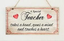 Beautiful Hand Made Teacher Sign Plaque Gift Present Thank You School Heart