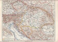 1890 AUSTRIA HUNGARY EMP CZECH SLOVAKIA CROATIA POLAND BOSNIA SLOVENIA Antic Map